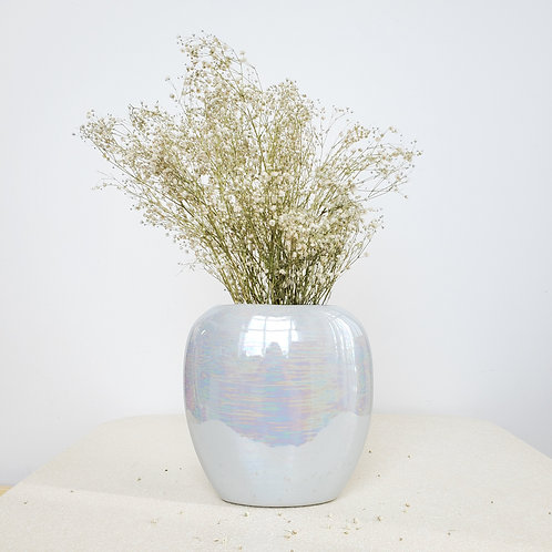80s Iridescent Pastel Blue Vase