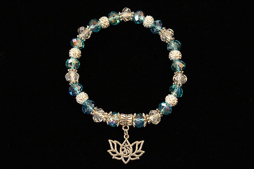 Sky Blue Om Lotus Flower Stretchy Bracelet