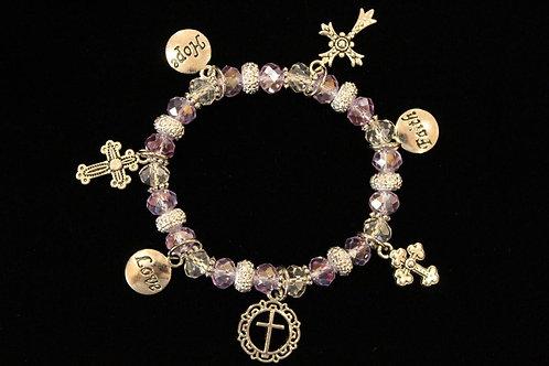 Light Purple Crystal Cross Charm Stretchy Bracelet