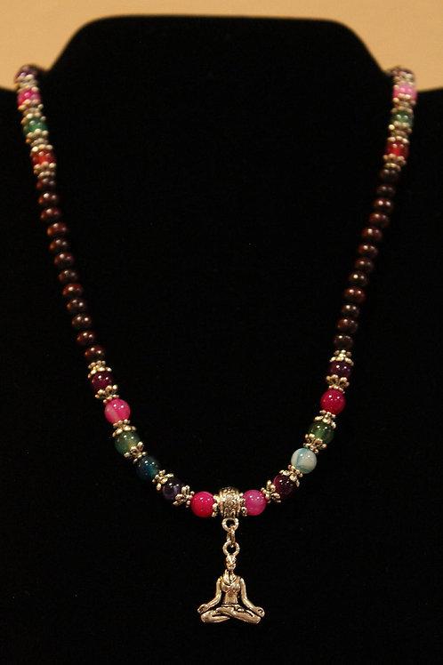 Sandalwood Leather Striped Agate Gemstone Meditation Yogi Necklace