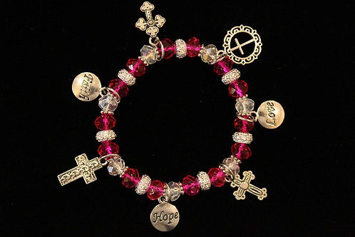 Pink Crystal Cross Charm Stretchy Bracelet