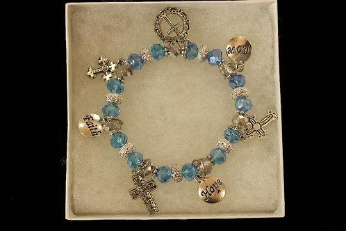 Light Blue Crystal Cross Charm Stretchy Bracelet
