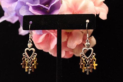 Stainless Steel Heart Cross Chandelier Earrings