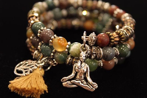 Genuine Agate & Jasper Gemstone, Lotus Flower, Meditating Yogi Tassel Memory Wi