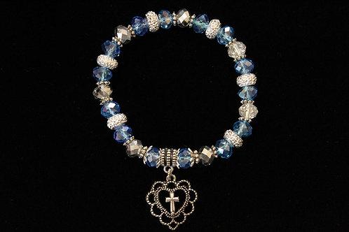 Light Blue Heart Cross Crystal Stretchy Bracelet