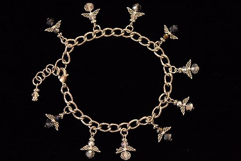 Tiny Black, Silver and Clear Angel Crystal Charm Bracelet