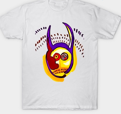 Digitally manipulated ink drawing on t-shirt