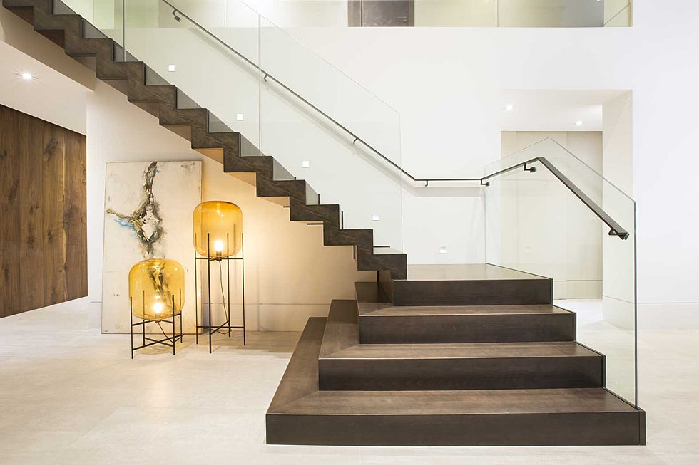 Stairs Contemporary DKOR Interiors Plexiglass Railing With Handrail