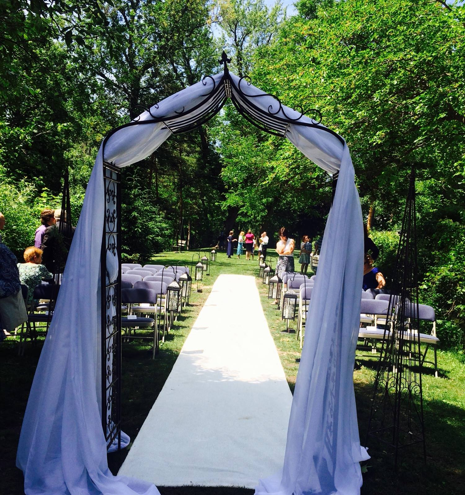 Draped indoor/outdoor Iron Arch