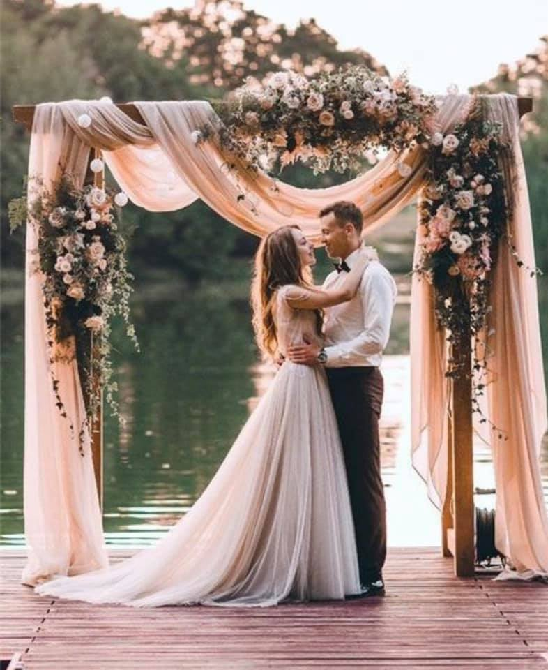 Draped Wooden Ceremony Arch