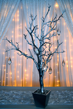 Silver tree with crystals