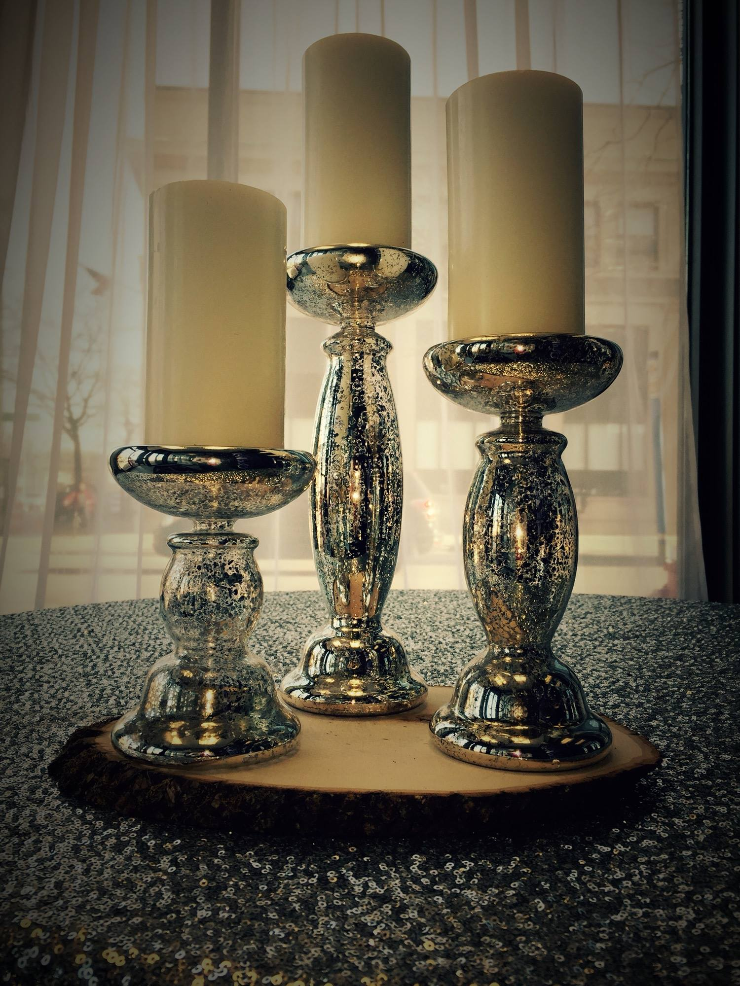 Mercury Glass 3-pc Pillar