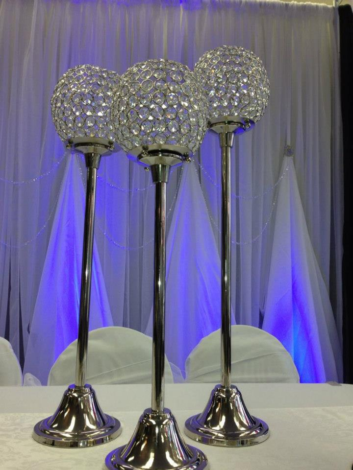 3 pc Crystal globe Centerpiece
