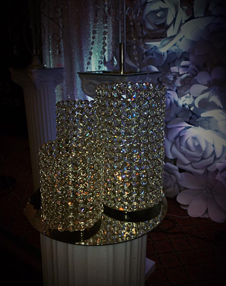 3 pc Crystal Pillar Centerpiece
