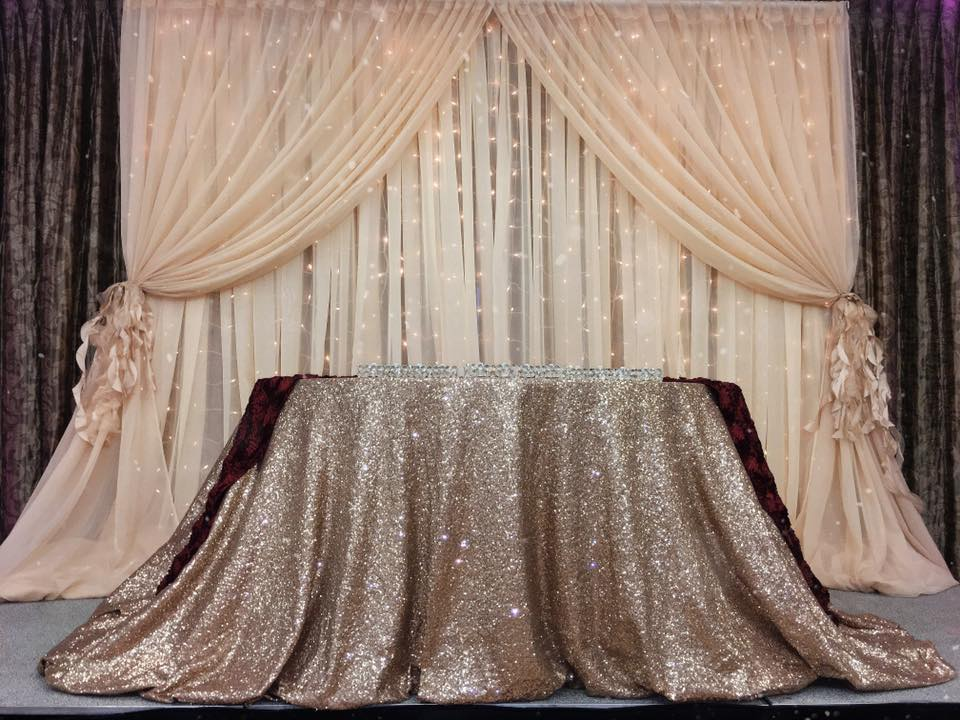 Double Drape Champagne Starlight