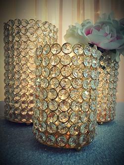 3 pc Gold Crystal Pillar Set