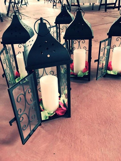 Black Scroll lantern with LED Candle