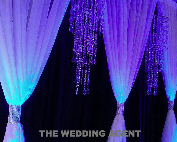 Dbl. Drape with Long Chandeliers