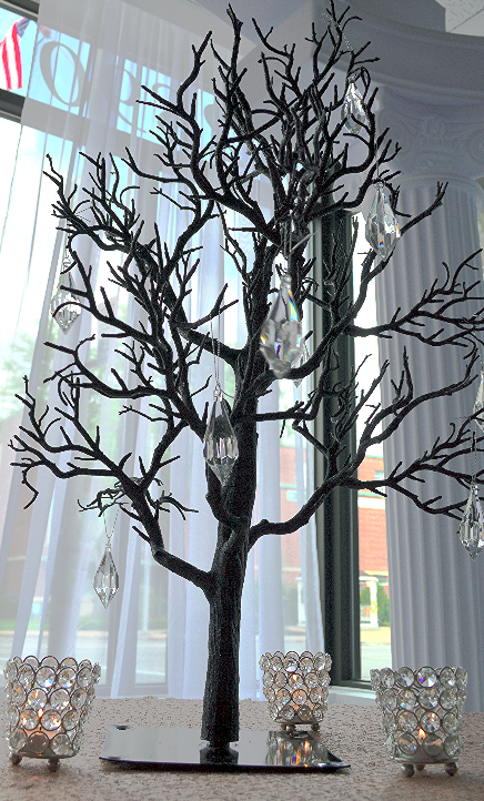Whimsical Black Tree with Crystals