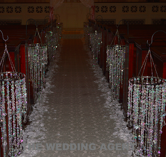 Chandelier Aisle with Glitter Runner