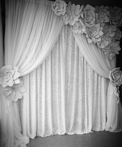 Double Drape Sequin with Side Floral
