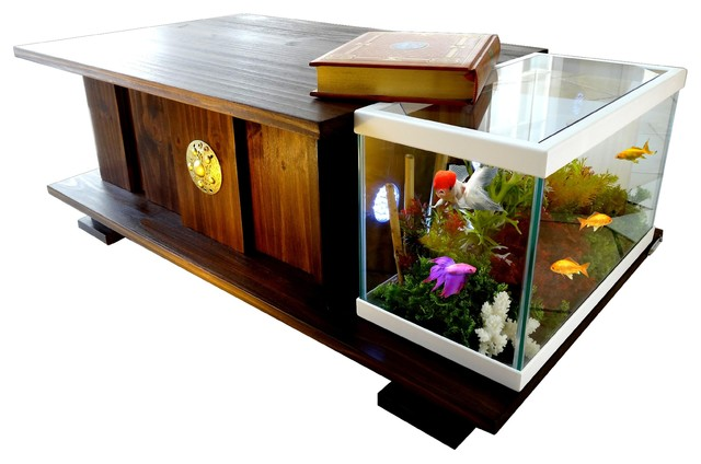 Wooden Polish Tea Table Fish Tank