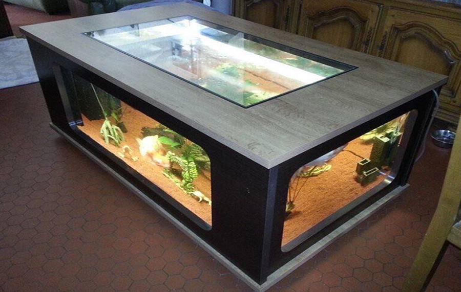 Wooden Frame Tea Table Aquarium