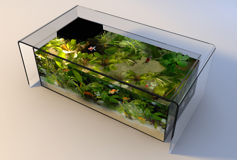 Bend Glass Tea Table Fish Tank