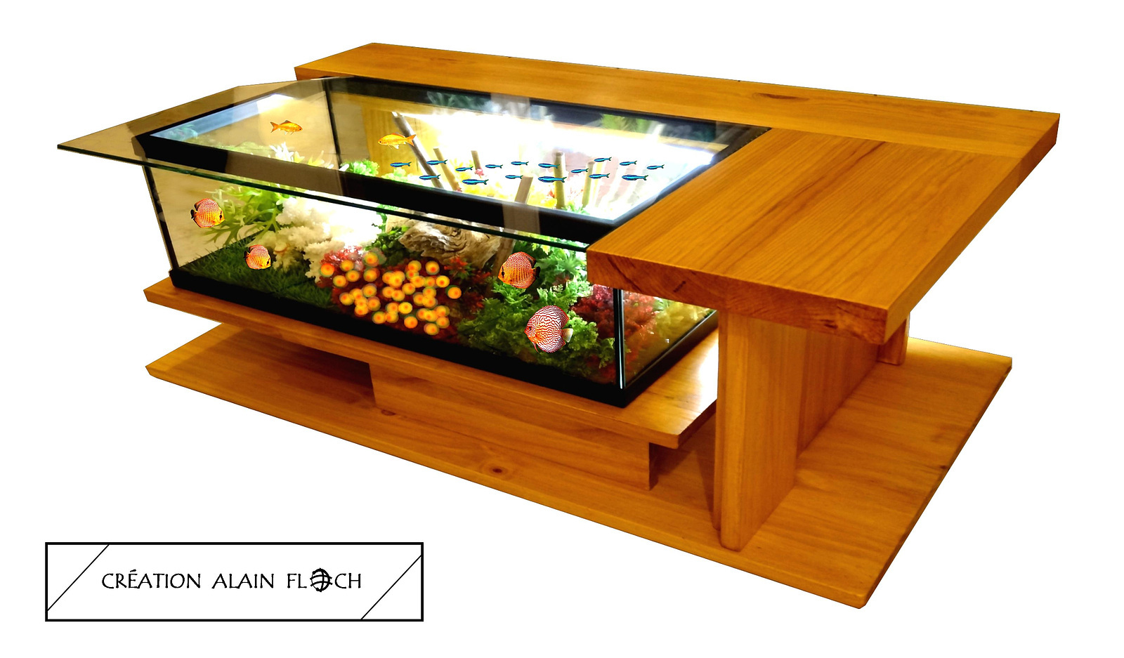 Wooden Board Half Tea Table Fish Tank