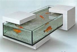 Half Wood Side Table Fish Tank