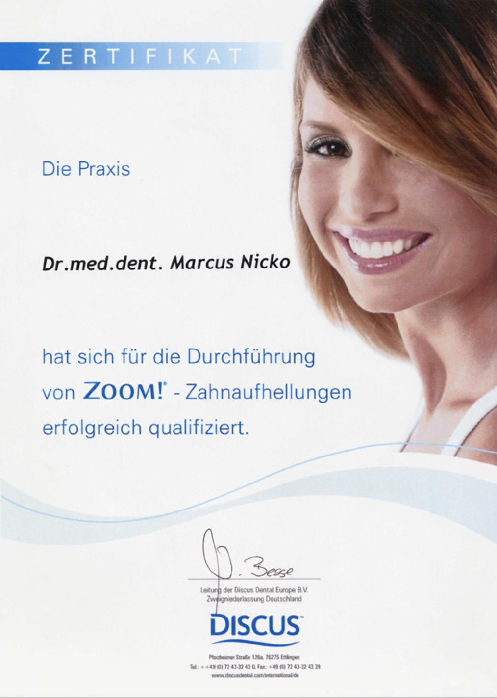 Dr. Nicko Zertifizierung für ZOOM!