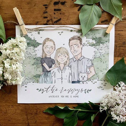 """""""Wherever You Are Is Home"""" Custom Family Portrait"""