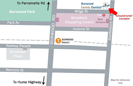 map Burwood family dentist
