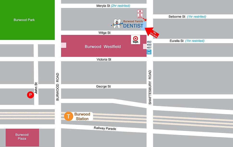 Burwood dental surgery  location map