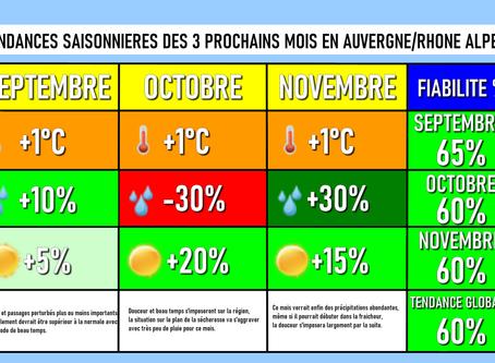 TENDANCES SAISONNIERES: Vers un automne plus ou moins humide mais doux !