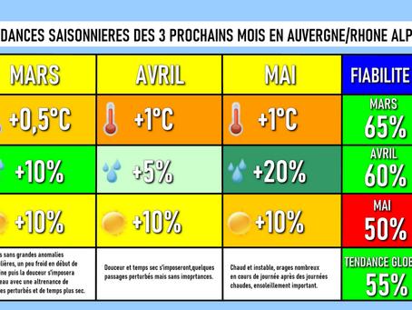 TENDANCES SAISONNIÈRES : Un printemps globalement sec, chaud et devenant instable...