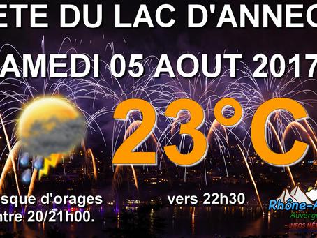 Météo: Fête du lac d'Annecy(74) : Risque d'orages avant le feu d'artifice!