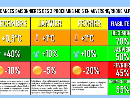 TENDANCES SAISONNIERES: Un hiver sans grandes anomalies marquantes !