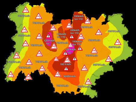 Auvergne/Rhône-Alpes: Alerte à la tempête Pétrine ce lundi, des rafales à 120km/h attendues!