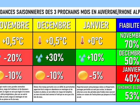 TENDANCES SAISONNIERES: Vers une alternance de périodes douces et froides pour notre hiver ?