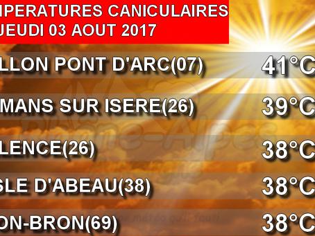 Météo: Une journée de jeudi suffocante avec 41°C à Vallon-Pont-d'Arc!