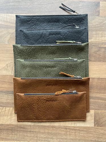 Flat leather case buffalo