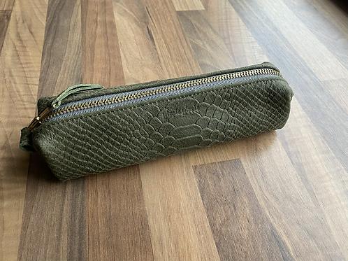Leather case medium green print