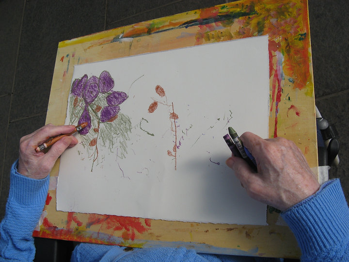Photograph from above, we can see the artist drawing purple and deep orange flowers with aquarelle crayons.