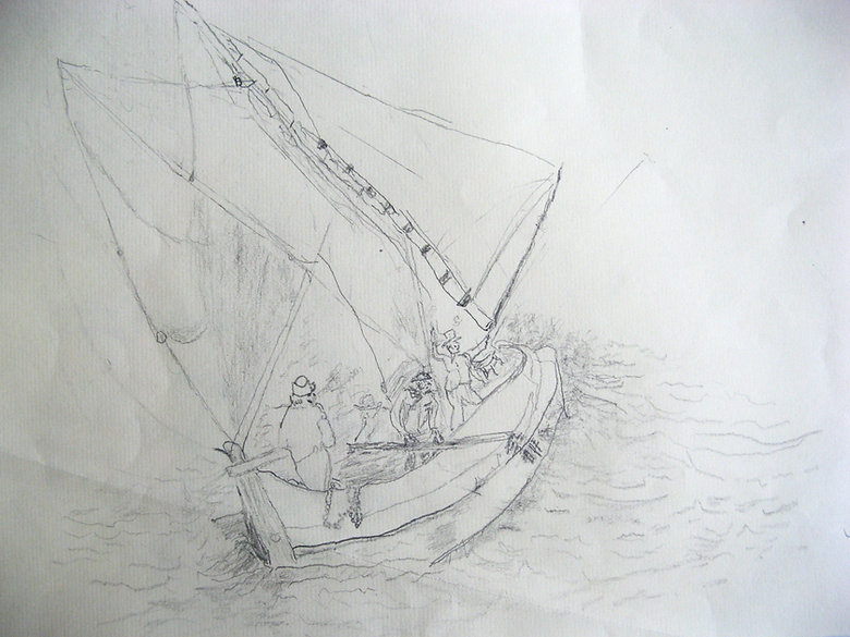 Shirley Pilson, Lake Nyasa, pencil on paper. A delicate pencil drawing of sailing boat in quite choppy waters; there are a few figures on the boat.  