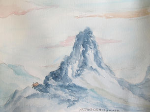 RWNH, Matterhorn-Summer, watercolouron paper (2015) Departmentof Medicine for the Elderly Queen Elizabeth University Hospital.A watercolour painting depicting the Matterhorn mountain, with a soft peachy sky in the background  