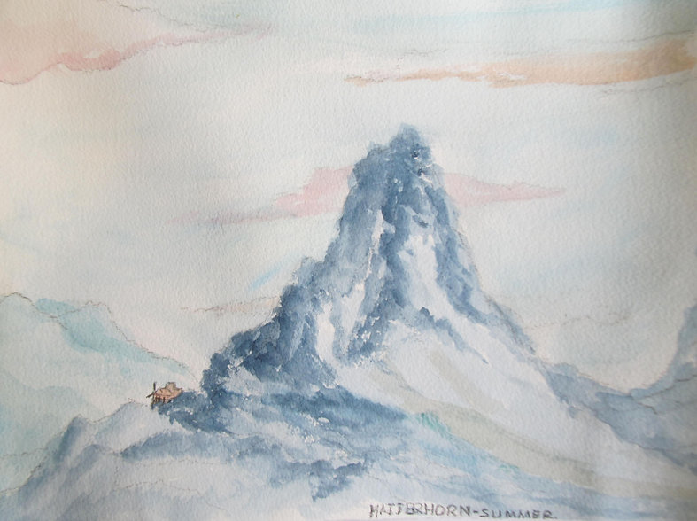 RWNH, Matterhorn-Summer, watercolour on paper (2015) Department of Medicine for the Elderly Queen Elizabeth University Hospital. A watercolour painting depicting the Matterhorn mountain, with a soft peachy sky in the background   ​