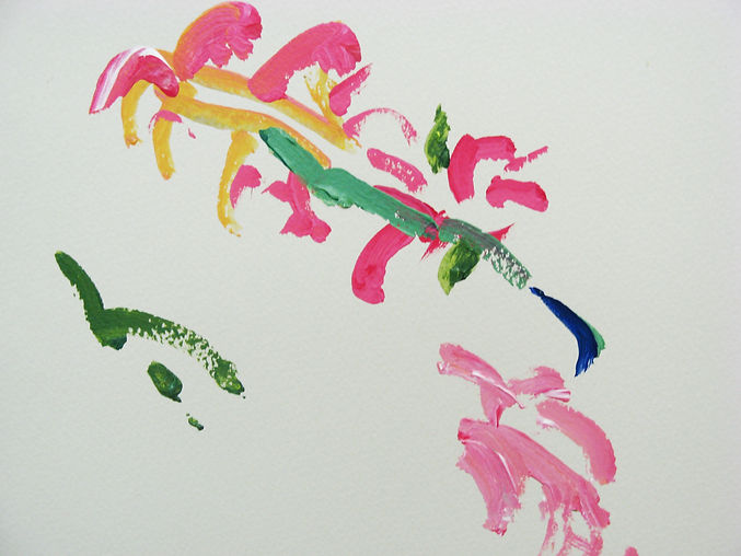 Sadie, untitled, acrylic on paper, 2009. An expressive painting in pinks, yellows greens