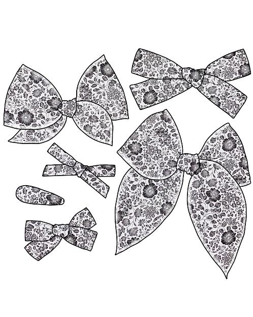 Agatha | Black & White Floral Bows