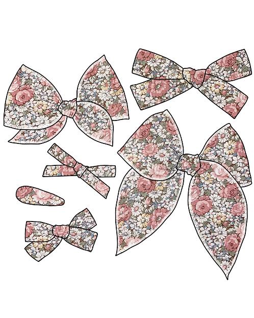 *Wholesale* Eliana   Pink Floral Hair Bows